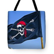Pirate Flag Skull With Red Scarf Tote Bag by Garry Gay