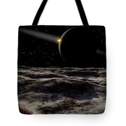 Pluto Seen From The Surface Tote Bag by Ron Miller