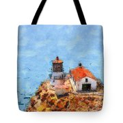 Point Reyes Lighthouse In California . 7d15989 Tote Bag by Wingsdomain Art and Photography