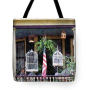Porch With Bird Cages Tote Bag by Susan Savad