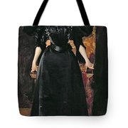 Portrait Of A Lady In Black Tote Bag by William Merritt Chase