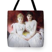 Portrait Of Marthe And Terese Galoppe Tote Bag by Leon Joseph Bonnat