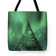 Powerlines And Aurora Borealis Tote Bag by Arild Heitmann