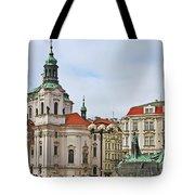 Prague - St Nicholas Church Old Town Square Tote Bag by Christine Till
