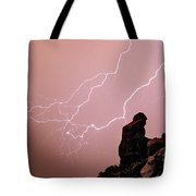 Praying Monk Camelback Mountain Lightning Monsoon Storm Image Tote Bag by James BO  Insogna