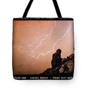 Praying Monk Camelback Mountain Lightning Monsoon Storm Image TX Tote Bag by James BO  Insogna