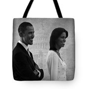 President Obama And First Lady Bw Tote Bag by David Dehner
