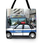 Proud Police Car In The City  Tote Bag by Elaine Plesser