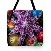 Purple Christmas Star Tote Bag by Garry Gay