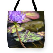 Purple Water Lilly Tote Bag by Lauri Novak