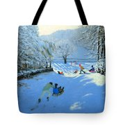Pushing The Sledge Tote Bag by Andrew Macara