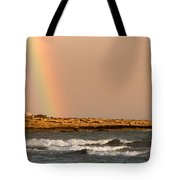 Rainbow By The Sea Tote Bag by Stelios Kleanthous