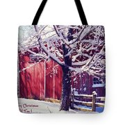 Red Barn In The Winter Connecticut Usa Tote Bag by Sabine Jacobs