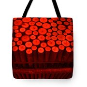 Red Circle Sticks Tote Bag by Kym Backland