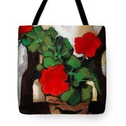 RED GERANIUM Tote Bag by Mona Edulesco
