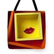 Red Lips In Yellow Box Tote Bag by Garry Gay