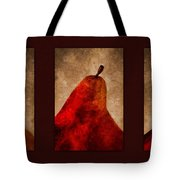 Red Pear Triptych Tote Bag by Carol Leigh