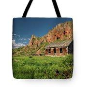 Red Rock Cabin Tote Bag by Leland D Howard