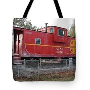 Red Sante Fe Caboose Train . 7D10329 Tote Bag by Wingsdomain Art and Photography