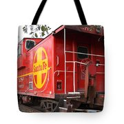 Red Sante Fe Caboose Train . 7D10332 Tote Bag by Wingsdomain Art and Photography