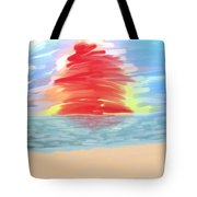 Red Sun Setting Tote Bag by Heidi Smith