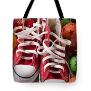Red Tennis Shoes And Balls Tote Bag by Garry Gay