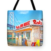 Reds Java House and The Bay Bridge at San Francisco Embarcadero Tote Bag by Wingsdomain Art and Photography