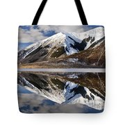 Reflection In Lake Pearson, Castle Hill Tote Bag by Colin Monteath