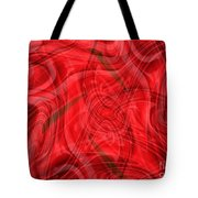 Ribbons Of Red Abstract Tote Bag by Carol Groenen