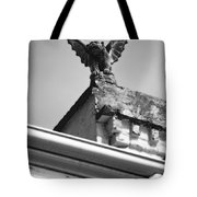 Rooftop Gargoyle Statue Above French Quarter New Orleans Black And White Diffuse Glow Digital Art Tote Bag by Shawn O'Brien