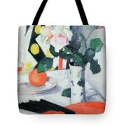 Roses In A Chinese Vase With Black Fan Tote Bag by Samuel John Peploe