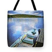 Rowboat Docked On Lake Tote Bag by Elena Elisseeva