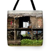 Rural Fishermen Houses In Cambodia Tote Bag by Artur Bogacki