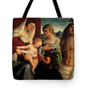 Sacra Conversatione With Ss Catherine Sebastian And Holy Family Tote Bag by Sebastiano de Piombo