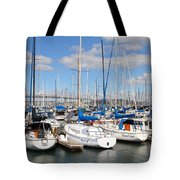 Sail Boats At San Francisco China Basin Pier 42 With The Bay Bridge In The Background . 7d7688 Tote Bag by Wingsdomain Art and Photography