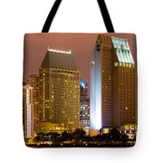 San Diego City At Night Tote Bag by Paul Velgos