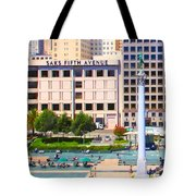 San Francisco - Union Square - 5D17938 - Square - Painterly Tote Bag by Wingsdomain Art and Photography