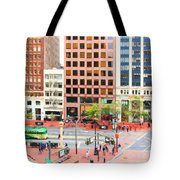 San Francisco Market Street - 5d17877 - Square - Painterly Tote Bag by Wingsdomain Art and Photography