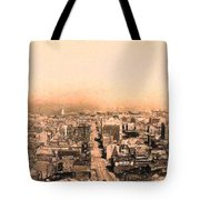 San Francisco Skyline 1909 . Ferry Building and Alcatraz Tote Bag by Wingsdomain Art and Photography