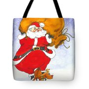 Santa And Rudolph Tote Bag by Peggy Wilson