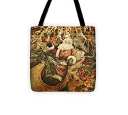 Santa's Vintage Memories Tote Bag by Toni Hopper