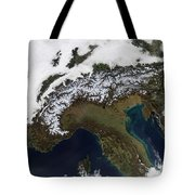 Satellite View Of The Alps Tote Bag by Stocktrek Images