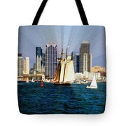 Saturday in San Diego Bay Tote Bag by Cheryl Young