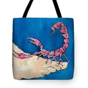 Scorpion On A Foot Tote Bag by Fabrizio Cassetta