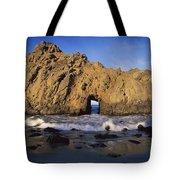 Sea Arch At Pfeiffer Beach Big Sur Tote Bag by Tim Fitzharris