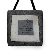 Shea Stadium First Base Tote Bag by Rob Hans