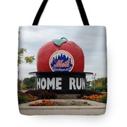 Shea Stadium Home Run Apple Tote Bag by Rob Hans