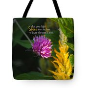 Shine Encouraging Pink And Yellow Flower Photograph Tote Bag by Jai Johnson