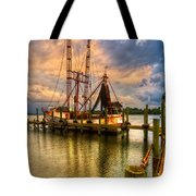 Shrimp Boat At Sunset Tote Bag by Debra and Dave Vanderlaan