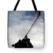 Silhouette Of The Iwo Jima Statue Tote Bag by Michael Wood